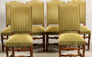 FRENCH COUNTRY WALNUT SET OF SIX CHAIRS
