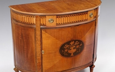 FRENCH STYLE INLAID DEMILUNE COMMODE