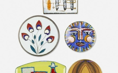 Five enamel brooches