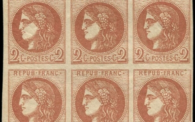 France 1870 - Bordeaux, 2 centimes brown-red, transfer 2, block of 6. - Yvert 40B