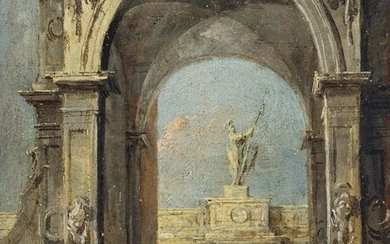 Francesco Guardi (Venice 1712-1793), An architectural capriccio with elegantly dressed figures and a dog at the entrance to a palace