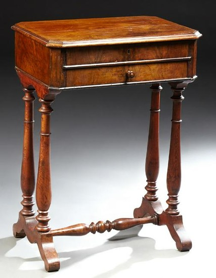 French Carved Walnut Travailleuse (Work Table), 19th