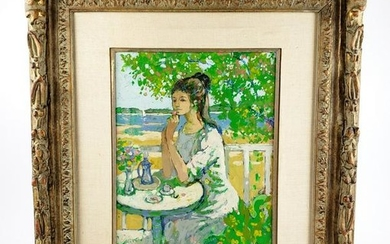 "French Oil on Board ""Girl in the Garden"" Signed Guy"