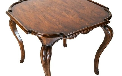 French Walnut End Table with Shaped Top