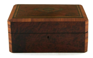 French burl walnut and Boulle-inlaid box