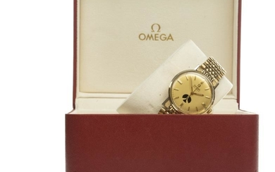 GENTLEMAN'S OMEGA AUTOMATIC GOLD PLATED WRIST WATCH, the round...