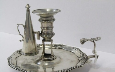 GEORGE III SILVER CHAMBER STICK, with gadrooned border on 3 ...
