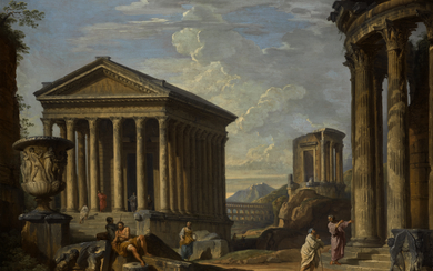 GIOVANNI PAOLO PANINI | CAPRICCIO OF CLASSICAL RUINS WITH THE MAISON CARRÉE AT NÎMES, THE TEMPLE OF THE SYBIL AT TIVOLI, THE PONT DU GARD NEAR NÎMES AND THE BORGHESE VASE