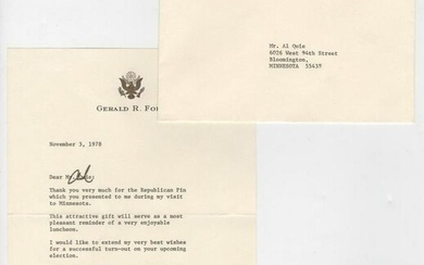 "Gerald Ford Signed Letter ""Thank you for the Republican"