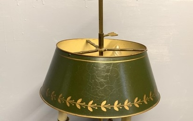 Good ormolu triple branch table lamp with green toleware sha...