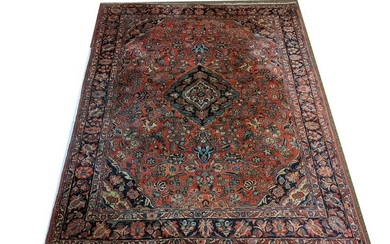Hand-Knotted Persian Wool Room-Size Rug. Blue central