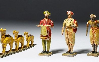 Indian Driver with Three Camels + 3 Indian Figures