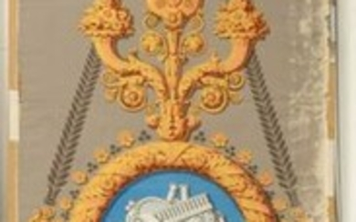 Intermediate panel of a wallpaper decoration with allegorical trophies, Mader Père Manufactory, 1825