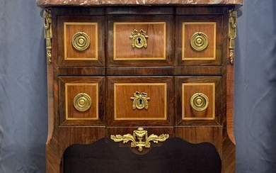 Jumping Commodus - Louis XV style curved sides - In precious wood marquetry - Late 19th century