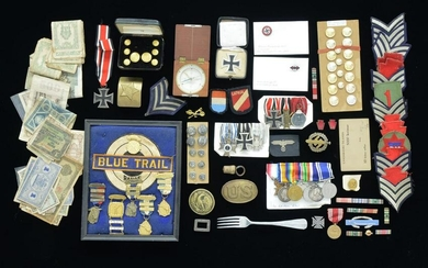 LARGE GROUP OF MEDALS, MILITARIA & CURRENCY.
