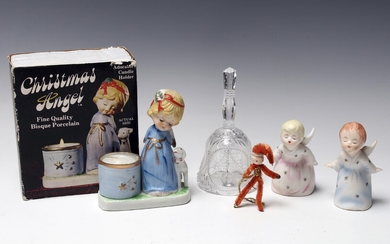 LOT OF CHRISTMAS ANGELS CANDLEHOLDER BELL