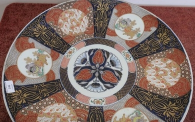 Large Japanese Imari style charger (diameter 55cm) (hairline...