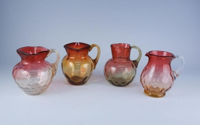 Lot 4 Antique Amberina Art Glass Creamers & Pitchers
