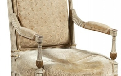 Louis XVI Upholstered Painted Wood Fauteuil