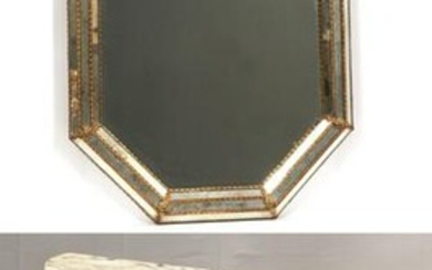 "MARBLE TOP CONSOLE & MIRROR H 35""-36"""