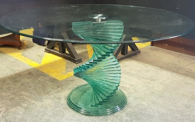 Modern Glass Top Table with Stacked Glass Pedestal Base (H: 74 x D: 140cm)