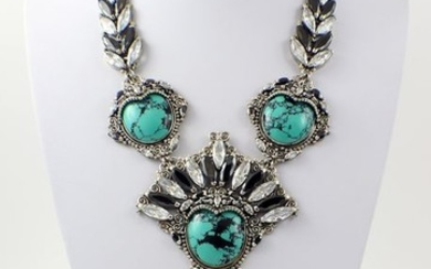 Necklace - Sterling silver 925, Turquoise, Zirconia - Java - Late 20th century