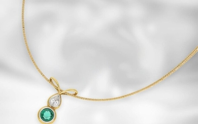 Necklace/chain: fine yellow gold necklace with emerald and...