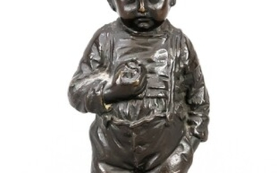 O. Morath, German sculptor around 1900, shy boy with apple in hand, brown patinated bronze, signed in the stand. u. on the viewing side ''Quitter'', h. 15.5 cm