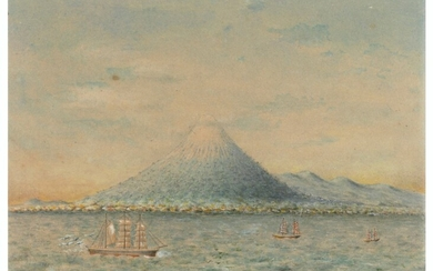 O. Müller (fl.1882-1883), A steamship and junk rigged craft off a volcanic Asian coastline; A sailing ship and junk rigged craft off an Asian coastline, with a town at the foot of a volcano; A signal station on a rocky coastal outcrop, a junk rigged...