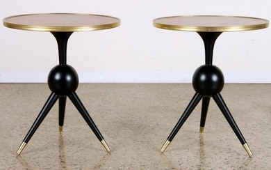 PAIR ITALIAN END TABLES BRASS BOUND BURL WOOD TOP
