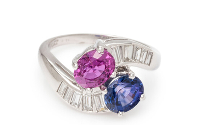 PINK AND PURPLE SAPPHIRE AND DIAMOND RING