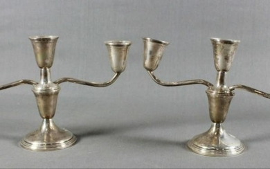 Pair Of Sterling Weighted 3 Arm Candelabras