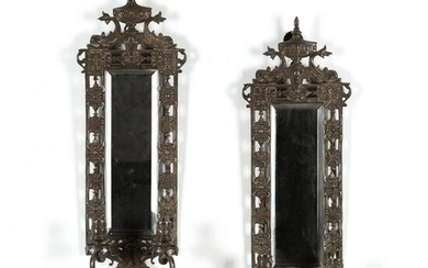 Pair of Adam Style Silverplate Mirrored Sconces, signed