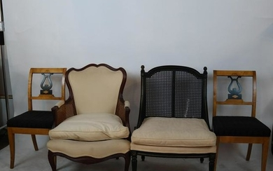 Pair of Biedermier-Style Chairs, Two Others