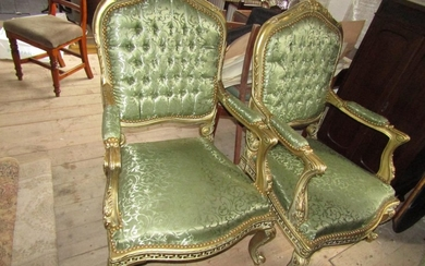 Pair of Carved Giltwood Green Silk Upholstered Drawing Room ...