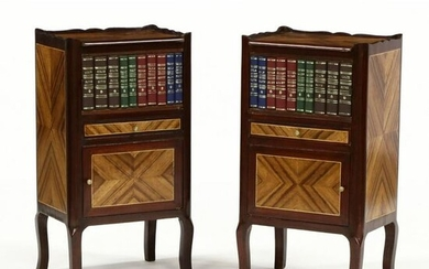 Pair of French Inlaid Faux Book Side Cabinets