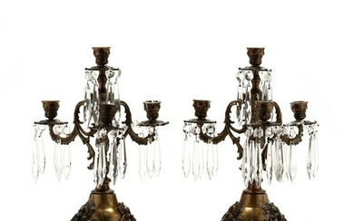 Pair of French Rococo Style Drop Prism Candelabra