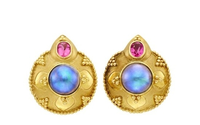 Pair of Gold, Gray Mabé Pearl and Pink Tourmaline Earrings
