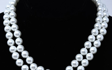 Pair of Hand Knotted 8mm Pearl Necklace Strands