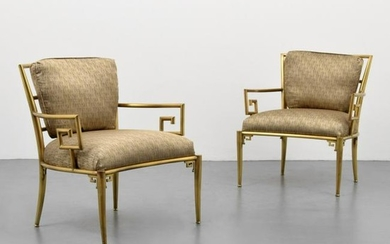 Pair of Mastercraft Greek Key Arm Chairs