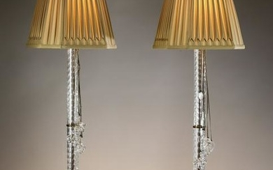 """Pair of tall cut glass table lamps, 49""""h"""