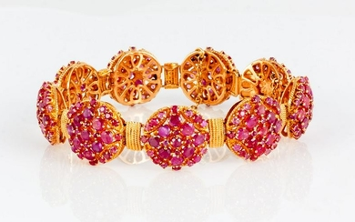 Persian 18kt Gold and Ruby Bracelet