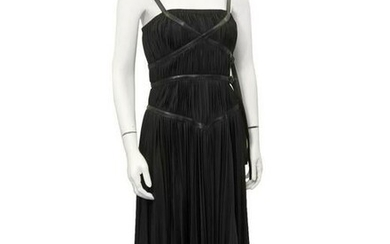 Prada Black ruched dress with leather accents