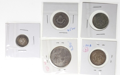 Qing Dynasty, group of 5x silver coins, including