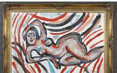 R. Monti, Mid-Century Reclining Nude in Abstract Oil/c