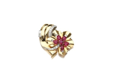 RUBY AND DIAMOND BROOCH, CARTIER, 1950S