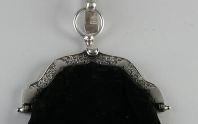 Rare antique silver bag handle with matching skirt
