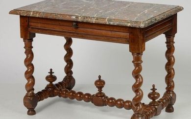"""Rectangular Louis XIII style middle table in carved walnut wood opening with a drawer in the belt. Spiral """"H"""" shaped base with three spinning tops. Topped by a table top in Breche de Saint-Remy marble. French work. Period: late 17th century..."""