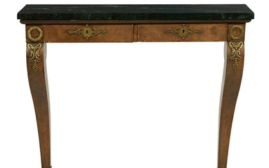 Regency Walnut and Marble-Top Console Table