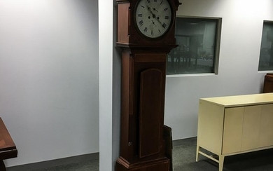 Scottish Inlaid Mahogany Tall Case Clock, Colin Crole, Perth, 19th century, (imperfections), ht. 83, wd. 18 3/4, dp. 9 in.